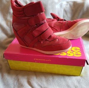Red Wedge Sneakers